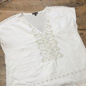 Eyelet Vneck T Shirt